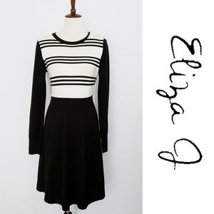 Eliza J Soft Striped Long Sleeve Sweater Dress